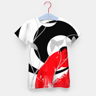 red wave abstract geometric digital art Kid's t-shirt thumbnail image