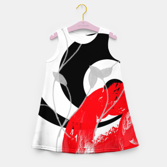 Thumbnail image of red wave abstract geometric digital art Girl's summer dress, Live Heroes
