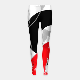 Miniatur red wave abstract geometric digital art Girl's leggings, Live Heroes