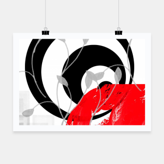 red wave abstract geometric digital art Poster thumbnail image