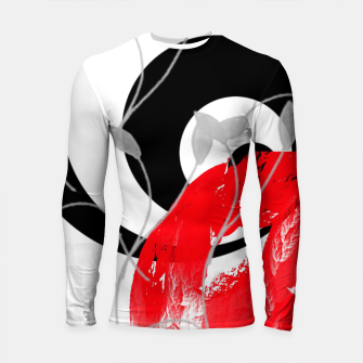 Miniatur red wave abstract geometric digital art Longsleeve rashguard , Live Heroes