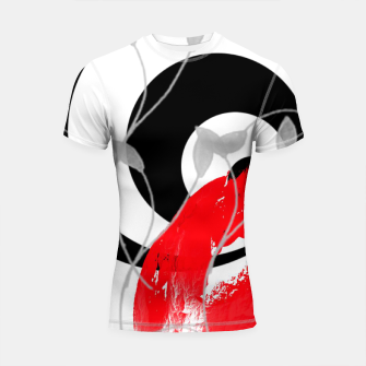 Thumbnail image of red wave abstract geometric digital art Shortsleeve rashguard, Live Heroes