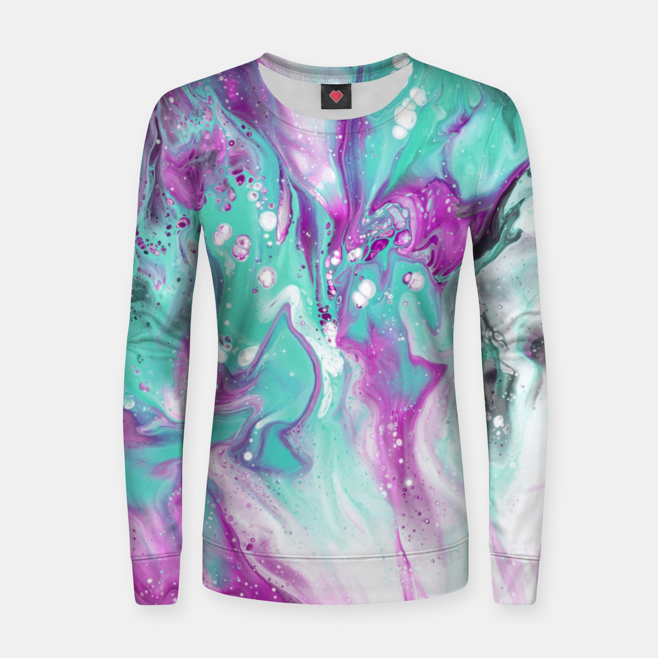 Zdjęcie Colorful watercolor space marble Women sweater - Live Heroes