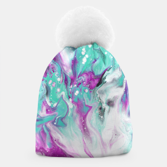 Colorful watercolor space marble Beanie obraz miniatury