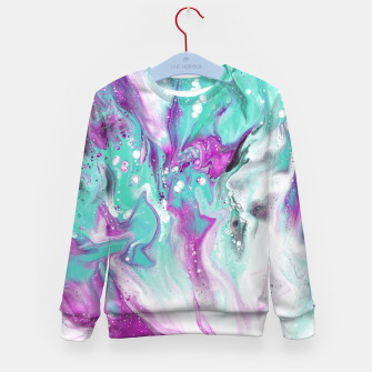 Colorful watercolor space marble Kid's sweater obraz miniatury