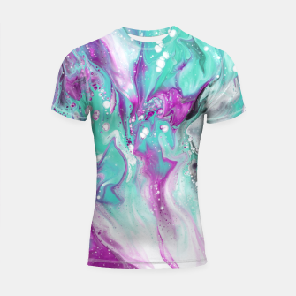Colorful watercolor space marble Shortsleeve rashguard obraz miniatury