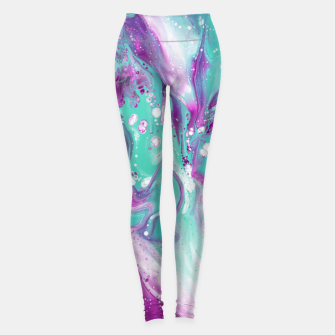 Colorful watercolor space marble Leggings obraz miniatury