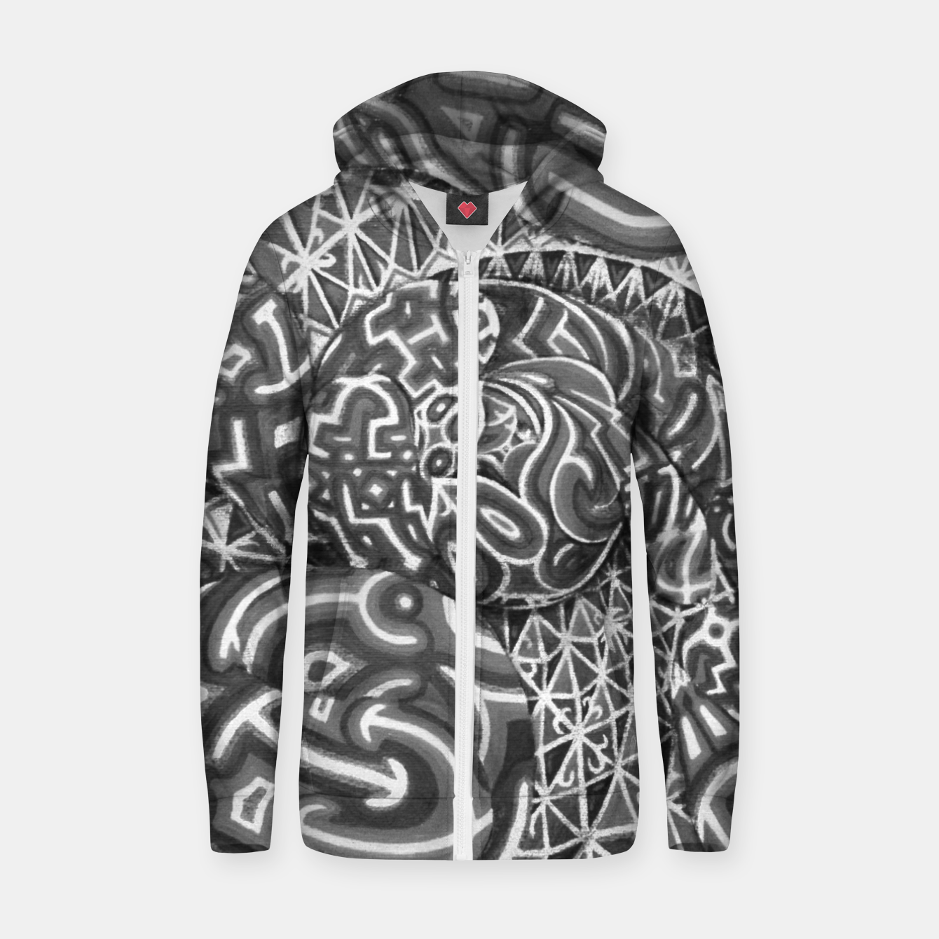 Image of Black and whilte language portal Zip up hoodie - Live Heroes