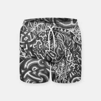 Thumbnail image of Black and whilte language portal Swim Shorts, Live Heroes