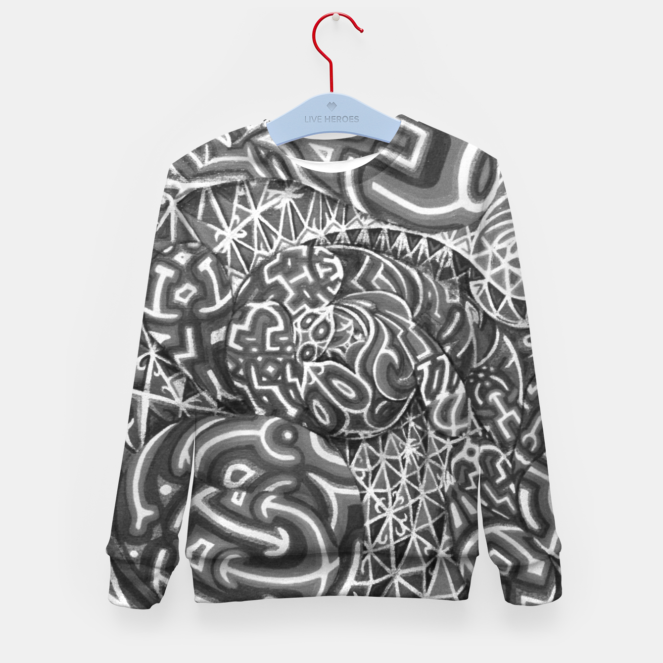 Image of Black and whilte language portal Kid's sweater - Live Heroes