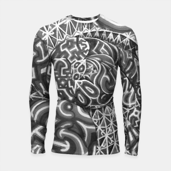 Thumbnail image of Black and whilte language portal Longsleeve rashguard , Live Heroes