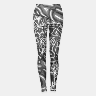 Thumbnail image of Black and whilte language portal Leggings, Live Heroes