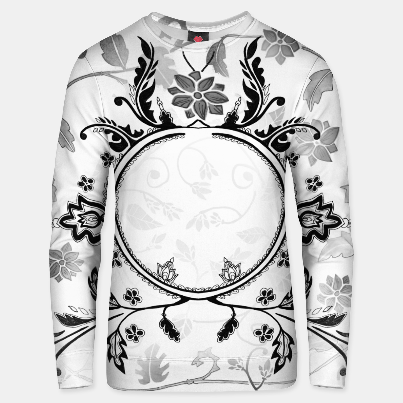 Image of White Black Pattern Sweater with Emily Nayhree Dawson Art - Live Heroes