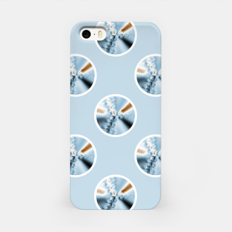 Miniatur Light Blue Polka Dot Fractal Pattern iPhone Case, Live Heroes