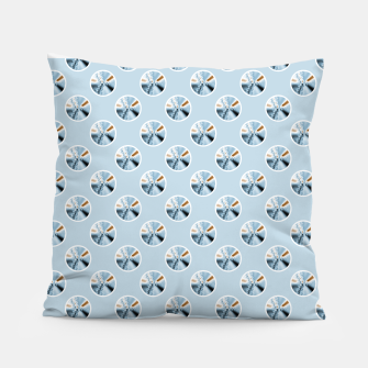 Miniatur Light Blue Polka Dot Fractal Pattern Pillow, Live Heroes