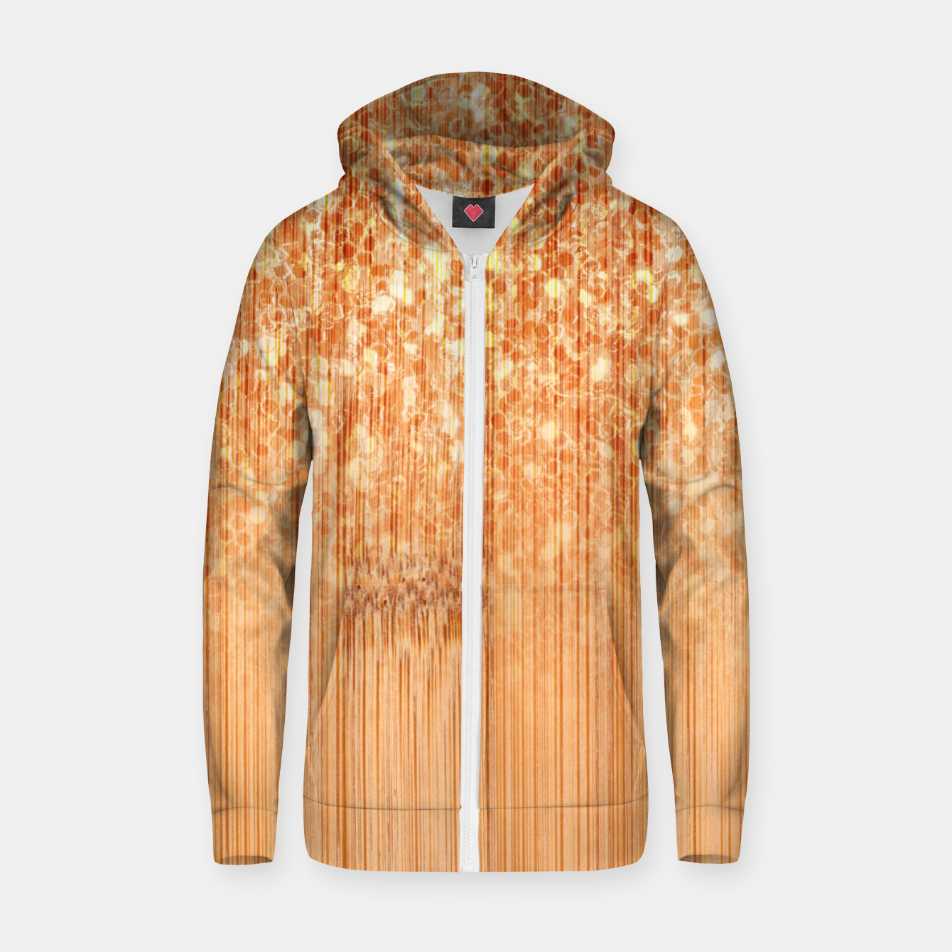 Image of Sparkly natural bamboo wood print Zip up hoodie - Live Heroes