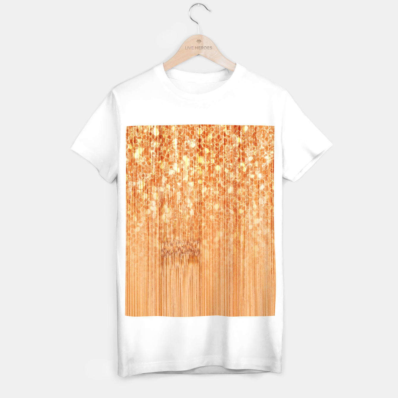 Image of Sparkly natural bamboo wood print T-shirt regular - Live Heroes