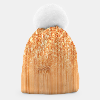 Thumbnail image of Sparkly natural bamboo wood print Beanie, Live Heroes