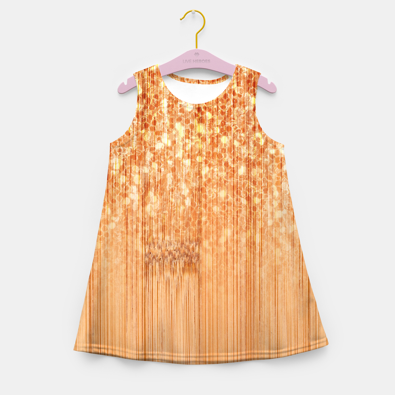 Image of Sparkly natural bamboo wood print Girl's summer dress - Live Heroes