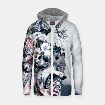 Thumbnail image of Wolf Zip up hoodie, Live Heroes