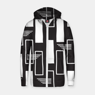 Black and white abstract geometric shapes Zip up hoodie thumbnail image