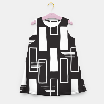 Black and white abstract geometric shapes Girl's summer dress thumbnail image