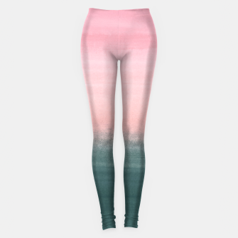 Touching Teal Pink Watercolor Abstract #1 #painting #decor #art  Leggings Bild der Miniatur