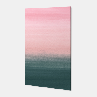 Touching Teal Pink Watercolor Abstract #1 #painting #decor #art  Canvas Bild der Miniatur