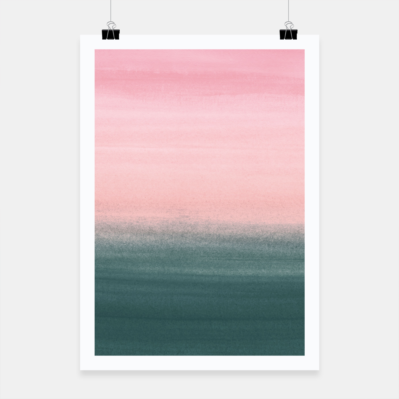 Foto Touching Teal Pink Watercolor Abstract #1 #painting #decor #art  Plakat - Live Heroes