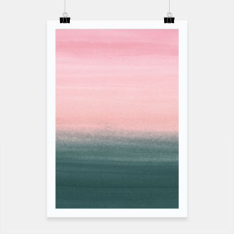 Miniatur Touching Teal Pink Watercolor Abstract #1 #painting #decor #art  Plakat, Live Heroes