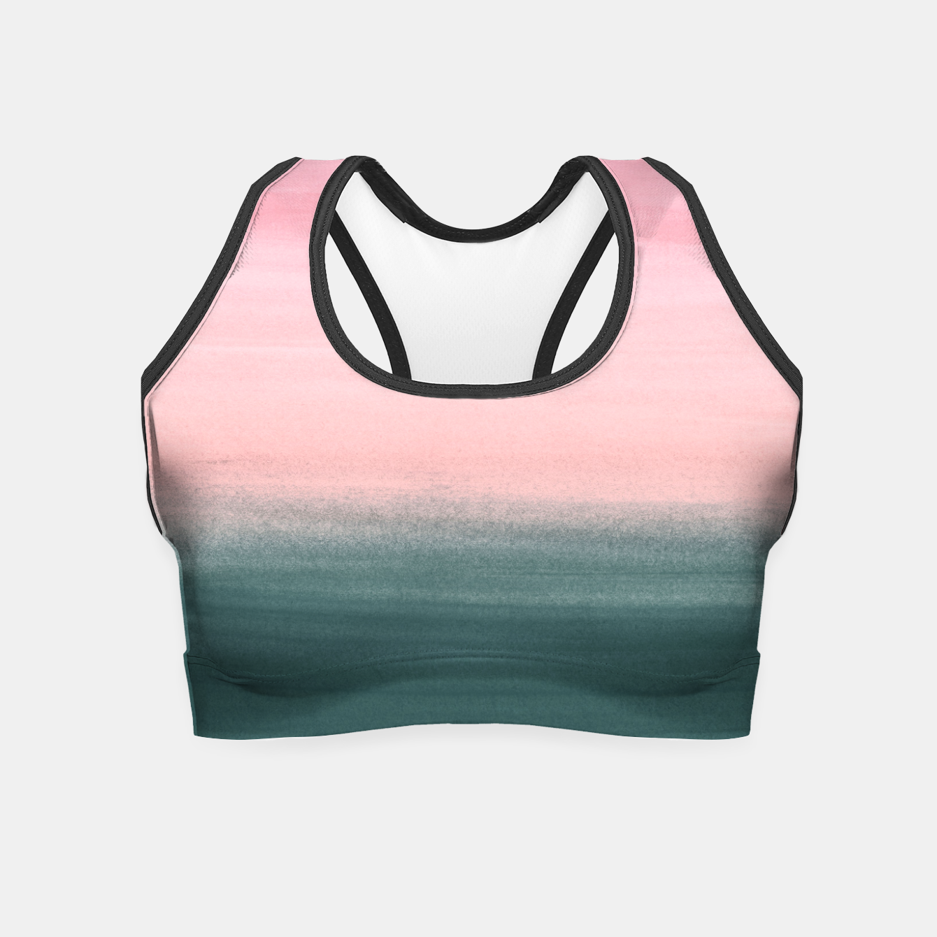 Foto Touching Teal Pink Watercolor Abstract #1 #painting #decor #art  Crop Top - Live Heroes