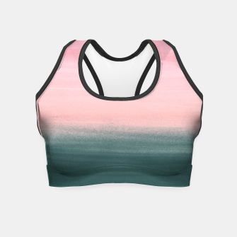 Miniatur Touching Teal Pink Watercolor Abstract #1 #painting #decor #art  Crop Top, Live Heroes