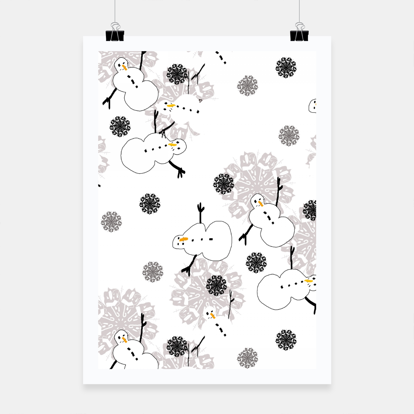 Image of Snowman Pattern Poster - Live Heroes