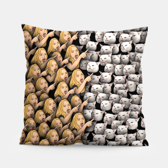 Miniatur Womans Yelling at Cats Pillow, Live Heroes