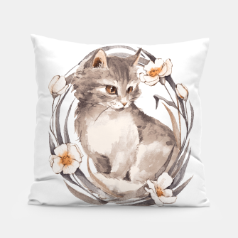 Thumbnail image of Kitten and flowers Pillow, Live Heroes