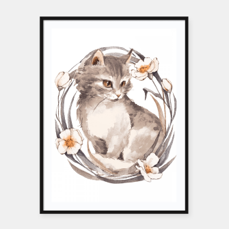 Thumbnail image of Kitten and flowers Framed poster, Live Heroes
