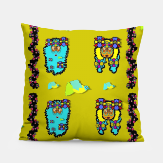 Miniatur peace people hippie friends and free living fauna  Pillow, Live Heroes