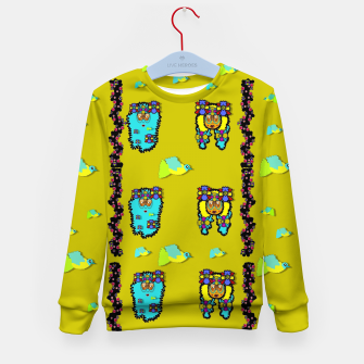 Thumbnail image of peace people hippie friends and free living fauna  Kid's sweater, Live Heroes