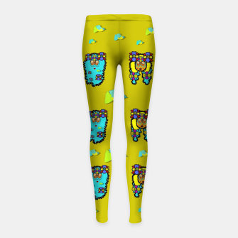 peace people hippie friends and free living fauna  Girl's leggings thumbnail image