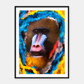 Thumbnail image of Abstract Monkey Framed poster, Live Heroes