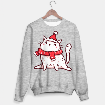 Miniature de image de Cute White Cat in Santa Hat & Scarf, Christmas, Winter, Kawaii Sweater regular, Live Heroes