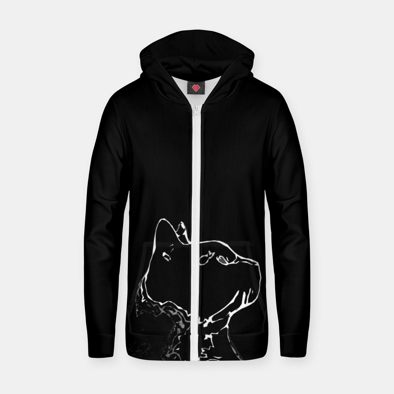 Foto Cat head silhouette, black and white minimal drawing, digital kitty portrait Zip up hoodie - Live Heroes