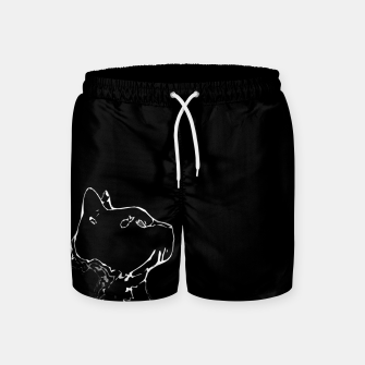 Cat head silhouette, black and white minimal drawing, digital kitty portrait Swim Shorts Bild der Miniatur