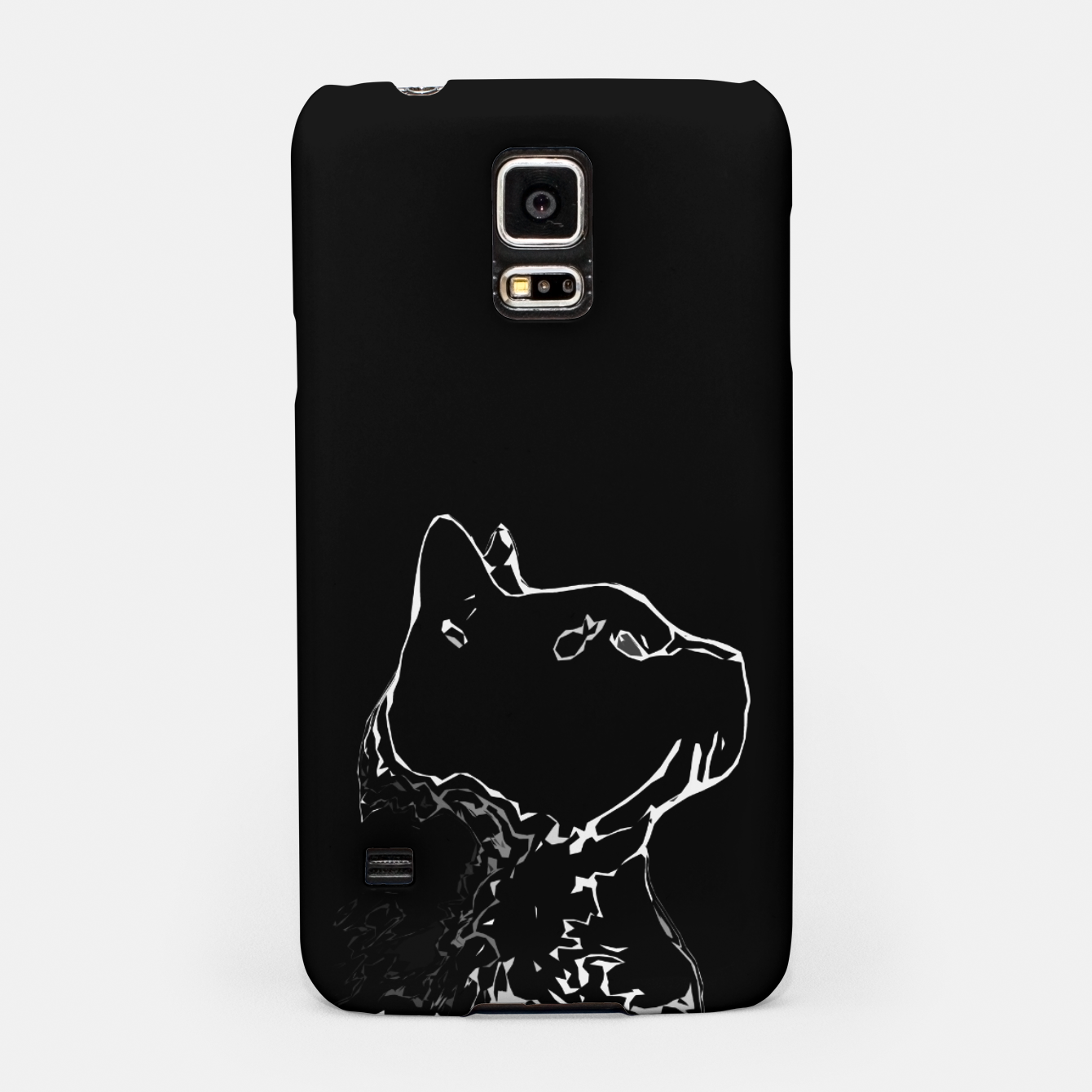 Foto Cat head silhouette, black and white minimal drawing, digital kitty portrait Samsung Case - Live Heroes
