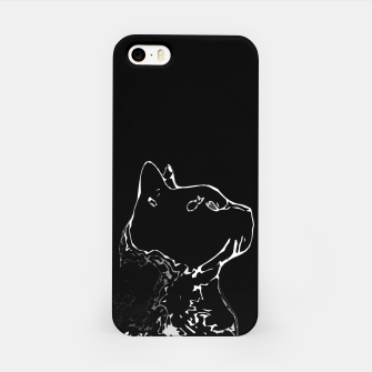 Cat head silhouette, black and white minimal drawing, digital kitty portrait iPhone Case Bild der Miniatur