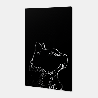 Miniature de image de Cat head silhouette, black and white minimal drawing, digital kitty portrait Canvas, Live Heroes