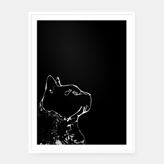 Cat head silhouette, black and white minimal drawing, digital kitty portrait Framed poster Bild der Miniatur