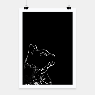 Cat head silhouette, black and white minimal drawing, digital kitty portrait Poster Bild der Miniatur