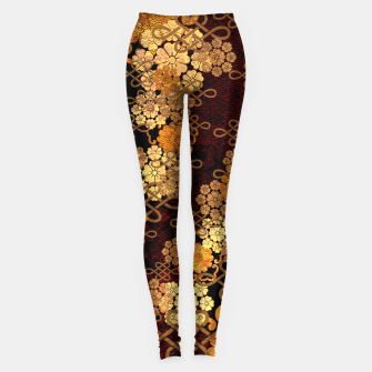 Thumbnail image of Japanese traditional family crest art. cherry blossoms Leggings, Live Heroes