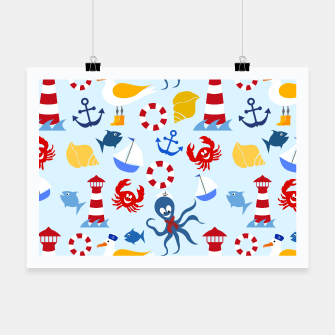 Miniatur Sea creatures pattern Poster, Live Heroes